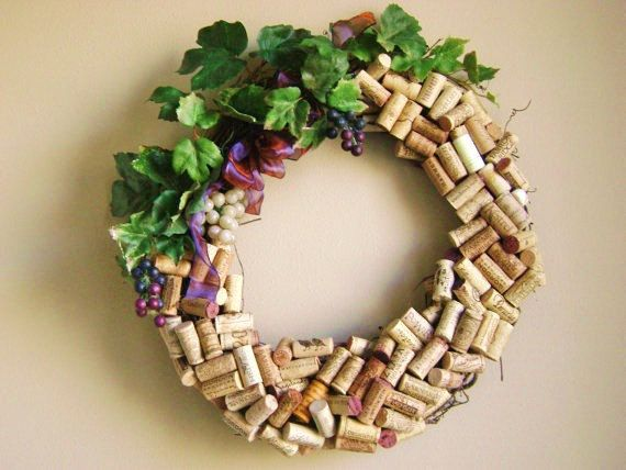 recycled wine cork wreath Washington state wineries silk leaves and fake grapes on grapevine wreath on Etsy, $65.00
