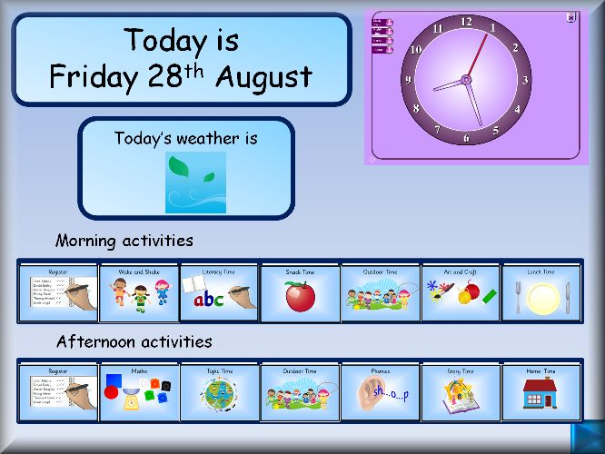 Daily calendar etc. IWB resources