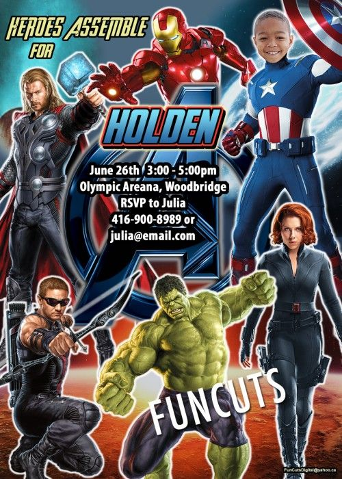 The Avengers, Marvel Superheroes, Birthday Invitation, Kids invite