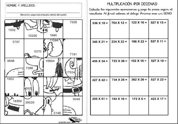 Fichas lúdicas para imprimir - Aprendiendo matemáticas