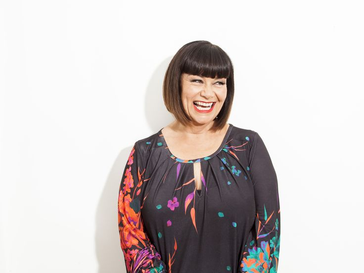 Dawn French © Rob Greig in Time Out wearing Anna Scholz - plus size designer http://www.annascholz.com/online-store/tops/digital-jersey-keyhole-tunic-black.html