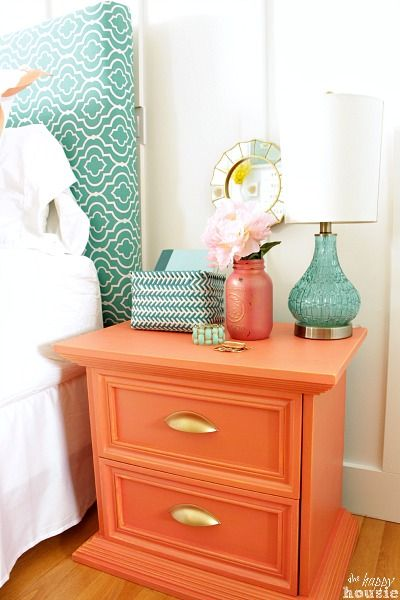 Coral nightstand. Love the color combination for guest bedroom or teen girls