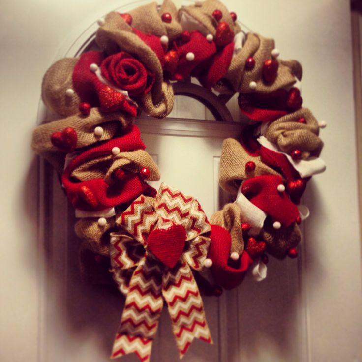 Valentines Burlap Wreath Burlap Wreaths Pinterest