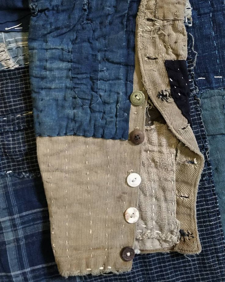 """406 Likes, 3 Comments - Sri Threads (@srithreads) on Instagram: """"An arrangement of random buttons on the bottom of a Western tailored Japanese boro trouser leg.…"""""""
