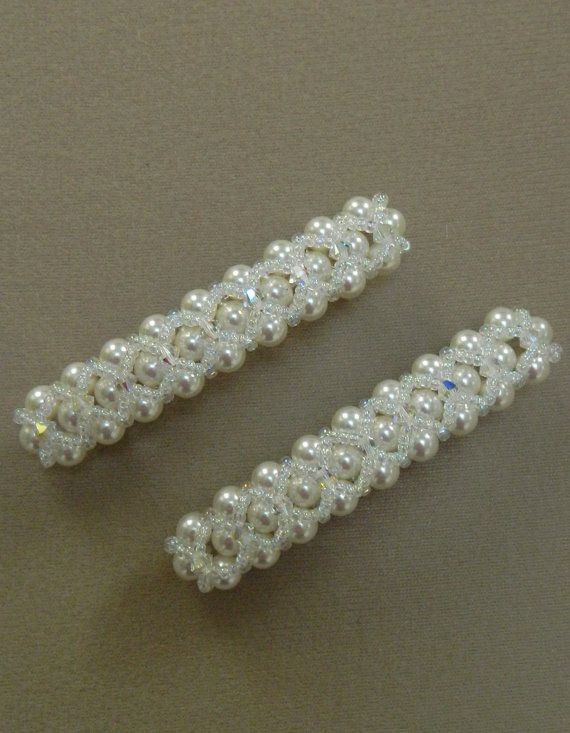 Just as important as your earrings is how youll wear your hair and what you might where IN it. If, like most brides, you intend to take off your veil or even if you dont use one, this barrette(s) will be the perfect accessory to complete your trousseaux! Each barrette has 28 Genuine Swarovski Crystal 6mm white pearls with Genuine Swarovski Crystal 4mm bicones in Crystal AB adding the perfect amount of sparkle with Crystal AB seed beads pulling it all together. They are 3 inches long. SOLD…