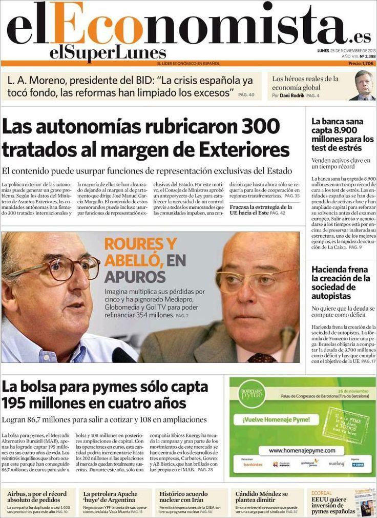 Los Titulares y Portadas de Noticias Destacadas Españolas del 25 de Noviembre de 2013 del Diario El Economista ¿Que le pareció esta Portada de este Diario Español?