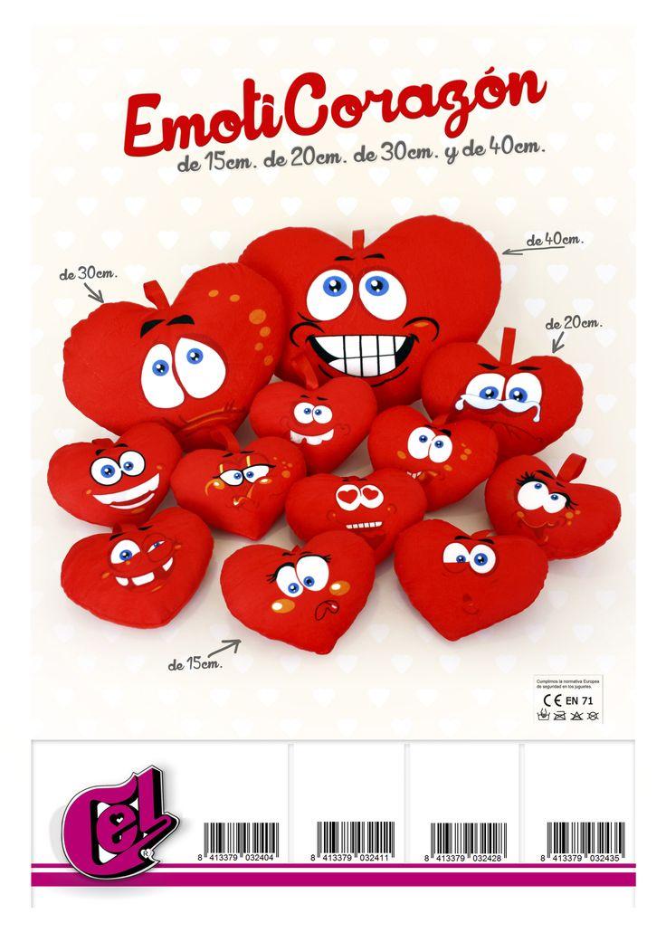 Los Emoti-Corazones de Peluches Cel. Los tienes en tu tienda de peluches online (www.peluches-cel.com) en cuatro tamaños y 12 expresiones diferentes. Elige la tuya!!!