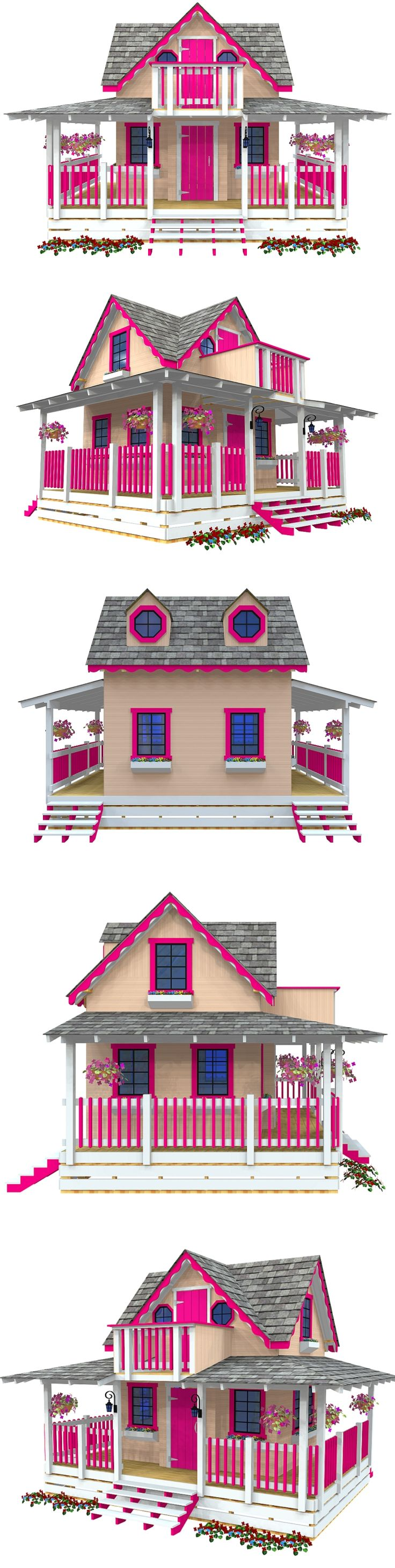 The Wishful Wendy playhouse plan.  Includes a full wrap around porch, 2nd floor, balcony and 14 windows.  With the basic carpentry tools and a few weekends, you can build this!
