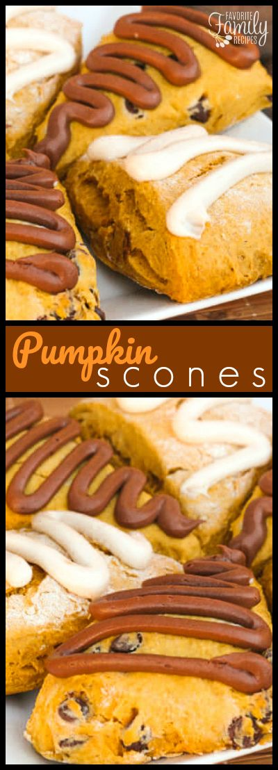 These Pumpkin Scones with cream cheese frosting are such a great recipe for fall. They make a great dessert, treat, or quick breakfast. via @favfamilyrecipz