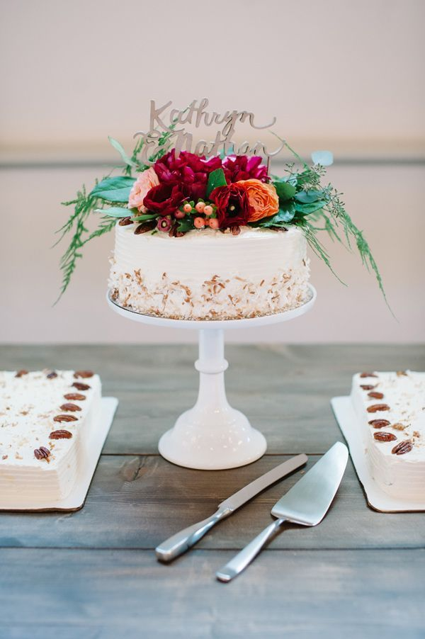 """Small cake with sheet cakes to feed the masses.  Means you can cut cake for guest before/during the actual """"cake cutting"""" and have it ready to serve!"""