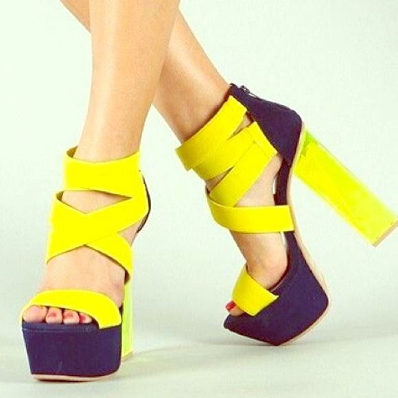 Lucite navy & yellow strappy sandals Final price Brand new navy and yellow strappy heels with chunky lucite block heel. Size 6 No offers, FINAL PRICE qupid Shoes Heels