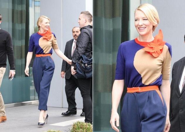 (LaPresse) - Quando sfila sul red carpet, nella sua grazia ed eleganza Cate Blanchett è eterea e inarrivabile. Ma anche nella vita quotidiana bastano un paio di pantaloni morbidi, una maglia in tinta e un accessorio colorato, in questo caso un foulard arancione al collo, per regalare alla diva una allure francese e chic.