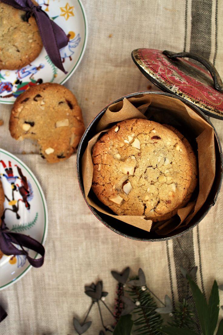 Jule cookies med hvid chokolade og tranebær (glutenfri)