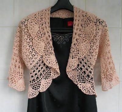 Beige Bolero free crochet graph pattern