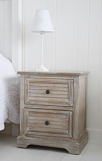 Richmond limed wooden bedside table with drawers. Range of bedside tables with fast delivery from The White Lighthouse. Coastal, Country, Scandi, New England, Shabby Chic and French Styles