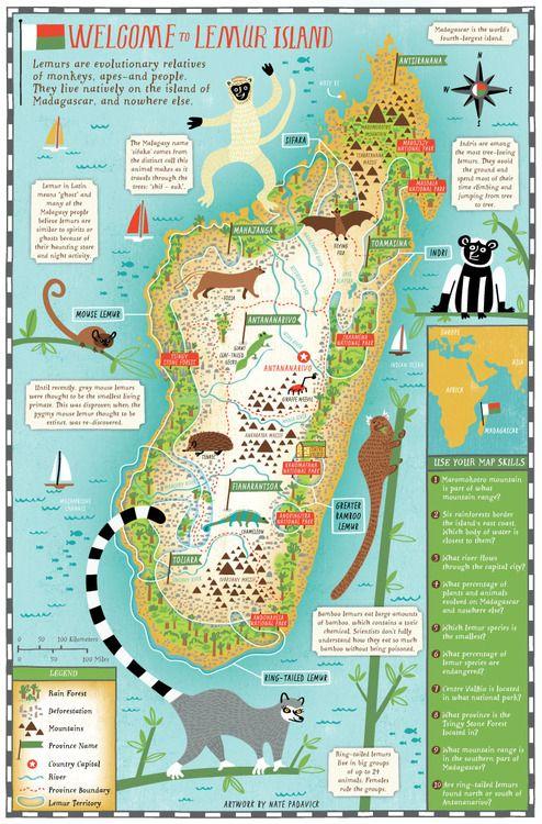 Scholastic | Lemur map of Madagascar