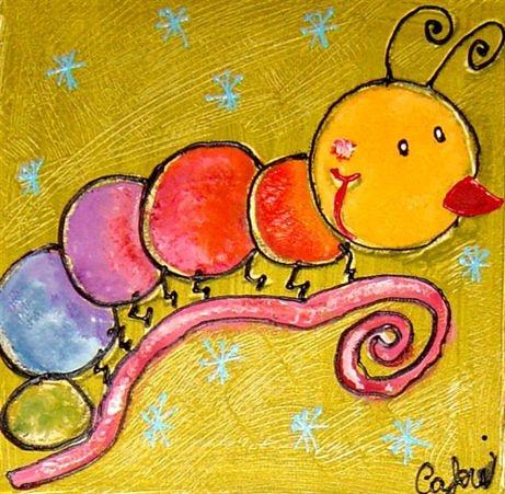 Cuadro pintado al oleo gusanito cuadros infantiles for Cuadros infantiles al oleo