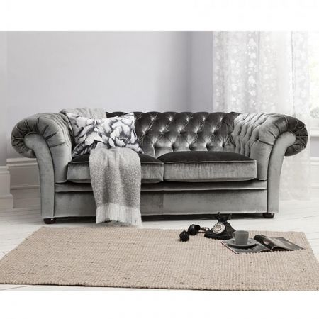Sarina Chesterfield 2 seater sofa finished in a sumptuous grey velvet - £1,242.56 Shop > http://www.exclusiveinteriors.co.uk/living-room/sofas/sarina-sofa-grey
