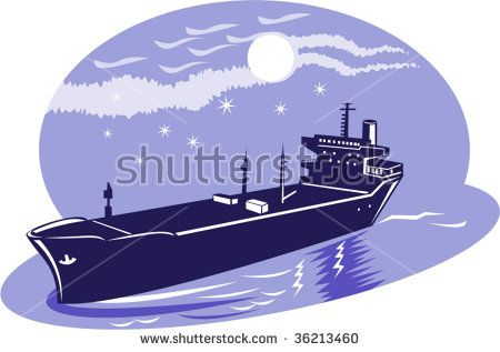Container ship with moon in the background  #containership #retro #illustration
