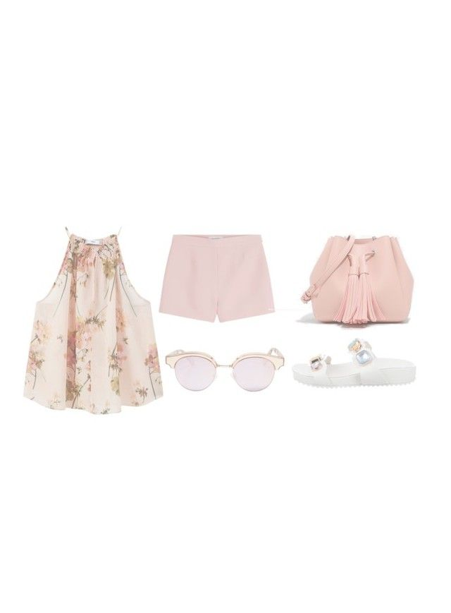 """pink pastel summer"" by ksasya on Polyvore featuring MANGO, Valentino, CHARLES & KEITH, Sophia Webster, Le Specs, Summer, Pink, pastel, 2016 and summer2016"