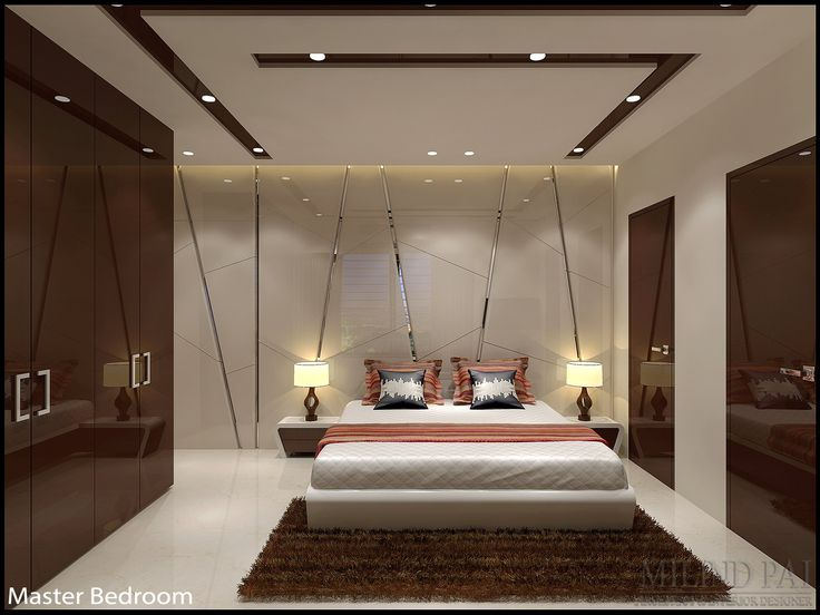 This bedroom is designed using dark colours which creates an incredibly relaxing, plus super sophisticated and very glamorous look. Elements like moody, masculine mirror paneling brings it up to date with bold lighting makes it look very luxurious. #Desig