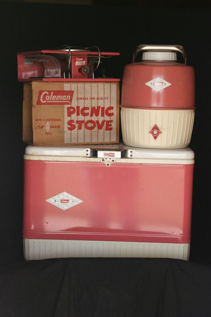 retro pink diamond Coleman cooler, water jug, & picnic stove