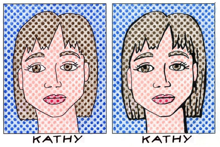 Lichtenstein portrait with pdf of premade dots to fill in.  Time saver!!!