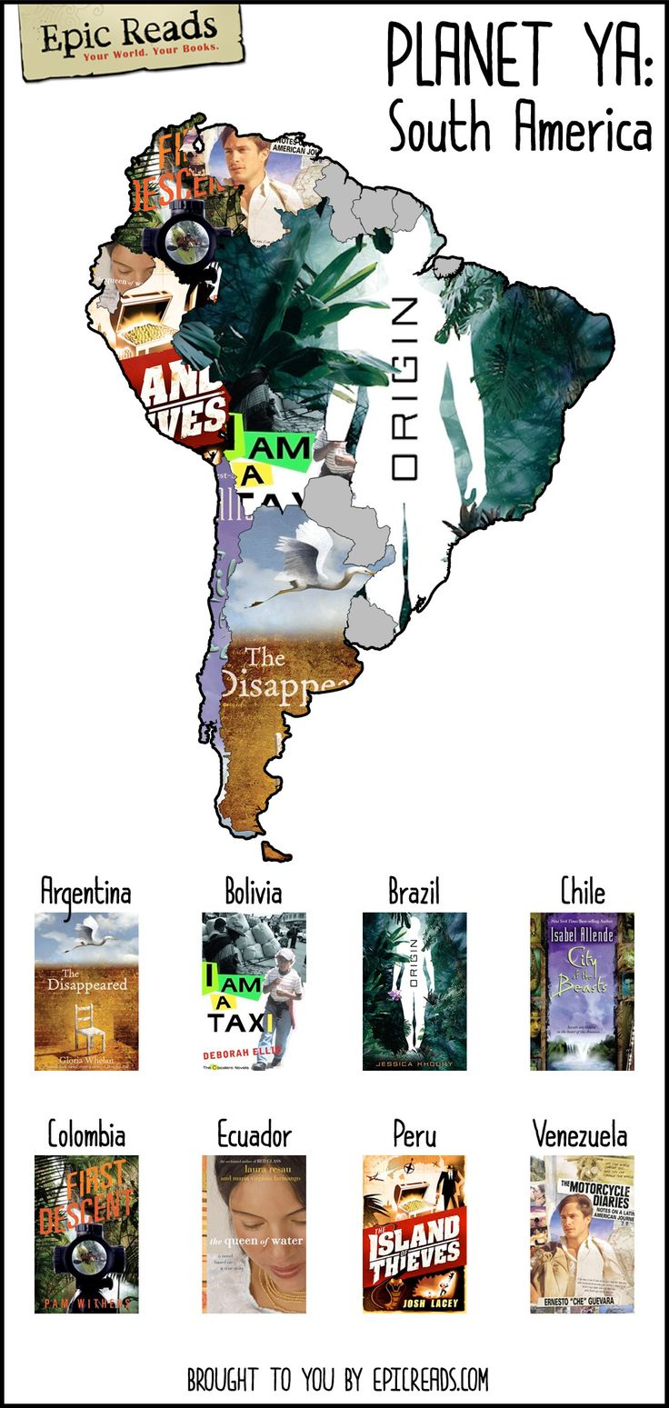 Take a reading trip to South America with this #PlanetYA map made by Epic Reads!