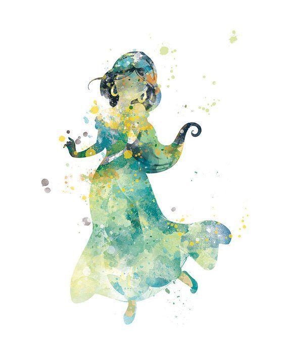 Princess Jasmine Print Watercolor Princess Art Jasmine Aladdin
