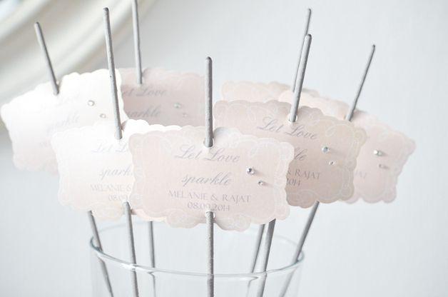 """Wunderkerzen, Sparkler """"Let the love sparkle"""" - Wünsche an das Brautpaar draufschreiben und anzünden"""