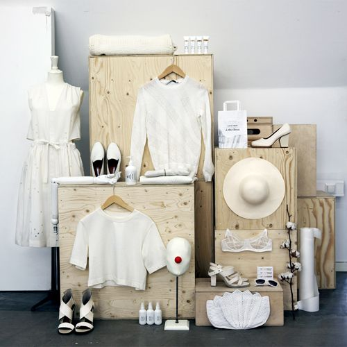 plywood boxes for display - could be painted a chic NON-RUSTIC color ;) / and-other-stories: Summer whites.