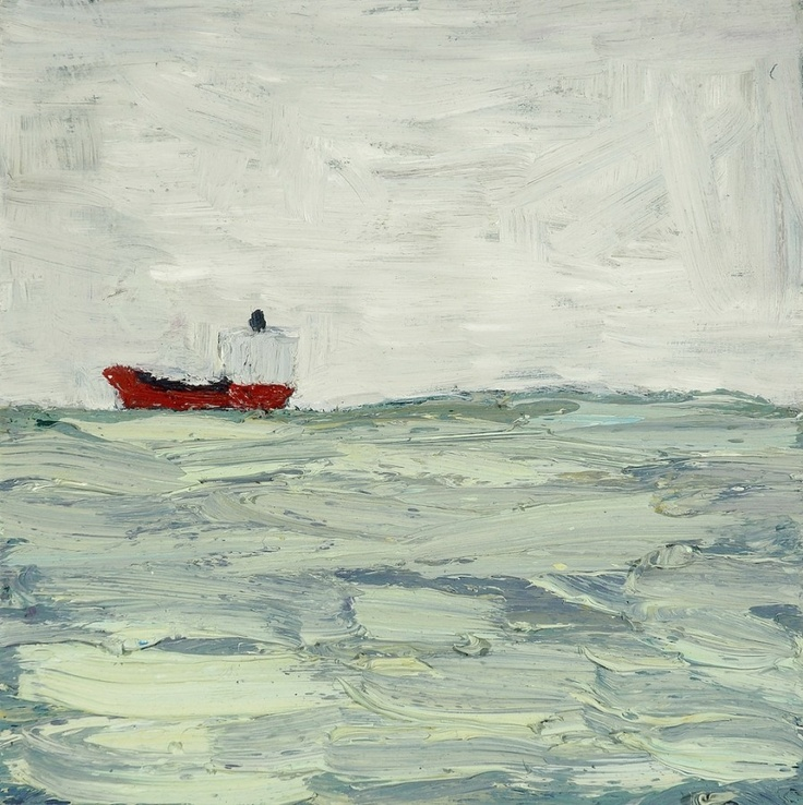 A Red Ship, St Kilda, 2007  Artist: Julian Twigg  Medium: Oil on board  Dimensions: 28 x 28 cm
