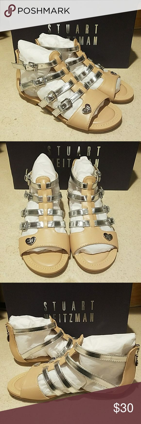 Stuart Weitzman Gladiator sandals girls sz 13 NIB Absolutely GORGEOUS pair of Stuart Weitzman Two Tone Gladiator sandals in Camel/Silver with silver tone hardware in girls size 13.  Brand new in box from smoke and pet free.   AUTHENTICITY GUARANTEED Stuart Weitzman Shoes Sandals & Flip Flops
