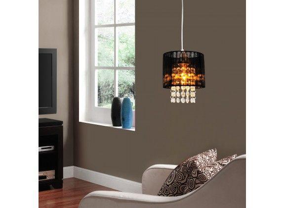 Hanglamp Luson. Hanglamp Luson is een lamp voor binnen in huis of op kantoor met een elegante en stijlvolle uitstraling. Deze lamp is voorzien van een lampenkap met zwarte stof en hangers met steentjes. Wordt geleverd exclusief lichtbron.