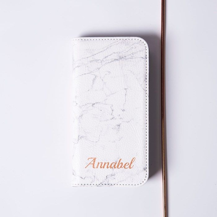 Personalised iPhone Plus Folio Wallet Cover - Marble Name | GettingPersonal.co.uk