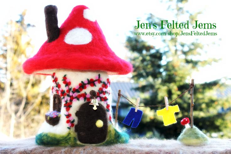 Felted Delux Fairy Toadstool House handmade by Jen's Felted Jems