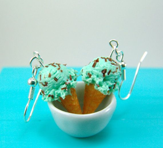 Ice Cream Earrings in Mint Chocolate Chip MADE TO par mousemarket
