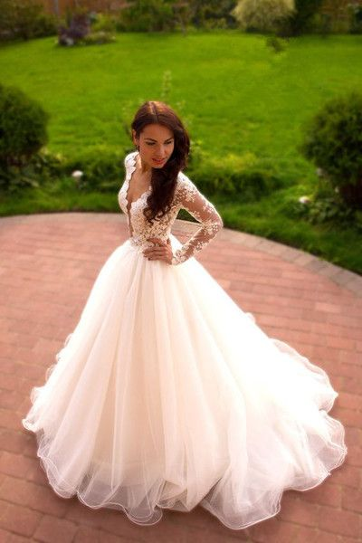 Romantic wedding dress,A-Line Wedding Dress,V-Neck wedding dress,Long-Sleeves Wedding dress W20