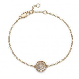 Oliver Weber Women pin style round circle gold bracelet with Swarovski Crystals