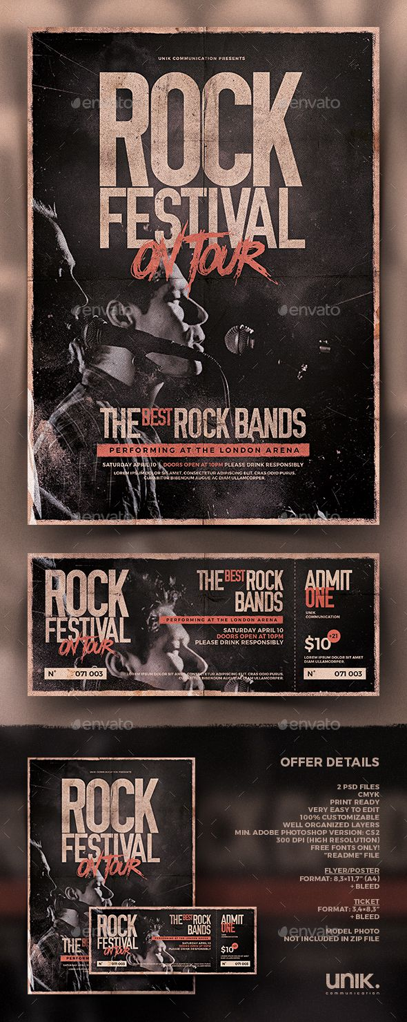 Rock Flyer / Poster & Ticket Template PSD. Download here: http://graphicriver.net/item/rock-flyerposter-ticket-vol1/15740359?ref=ksioks