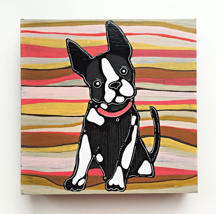 The Boston Terrier painting is one of a kind work of painting rendered in acrylic and enamel paints with an element of 3D dimensions. The Boston Terrier painting has a shiny texture in contrast to a s