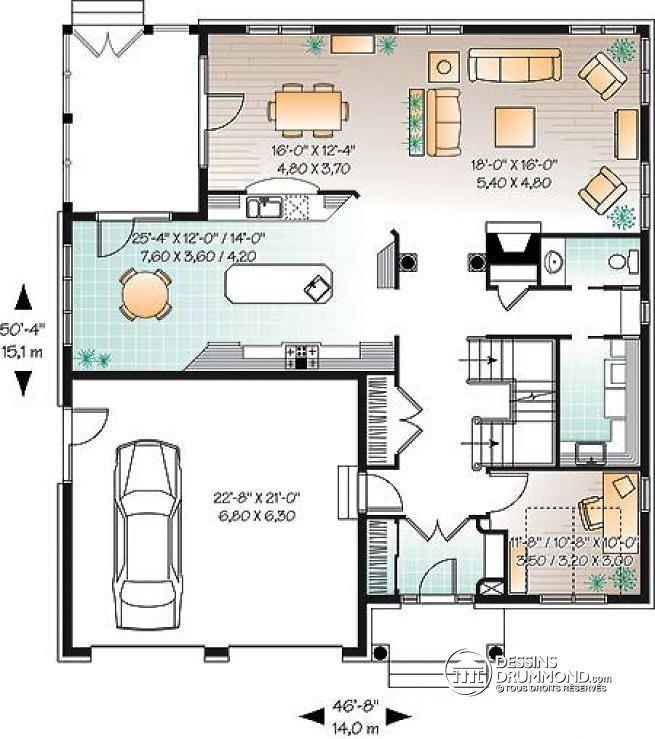 W2679 maison 4 chambres avec bureau style moderne for Plan de maison contemporaine avec double garage