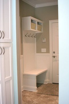 tiny mud room outside bathroom