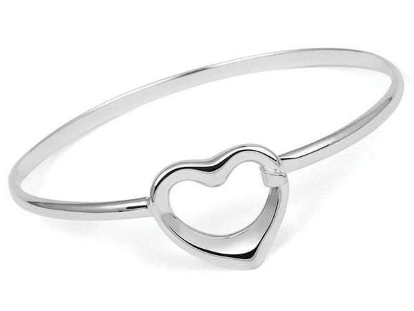 Silver Bangle - Heart
