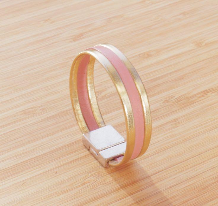 Bracelet lanières de cuir véritable rose et or : Bracelet par ccedillle