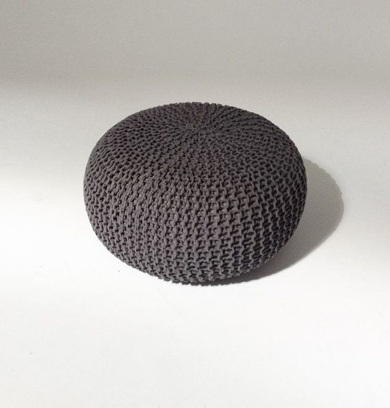 Handmade Knitted Pouf Color: Charcoal Gray Dimensions: Diameter 80cm ; Height 35cm Material: 100% Cotton ; Filling: 100% Polystyrene Balls
