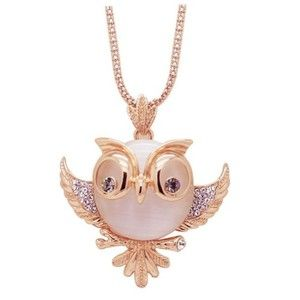 Chaomingzhen Charm Vintage Rose Gold Plated Copper White Opal Cute Large Eye Owl Doctor Pendant Long Necklace for Women Fashion Jewelry for Teen Girl with Chain 31 inch