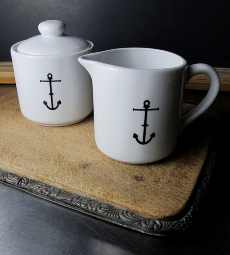 Ceramic Anchor Sugar and Creamer Set//
