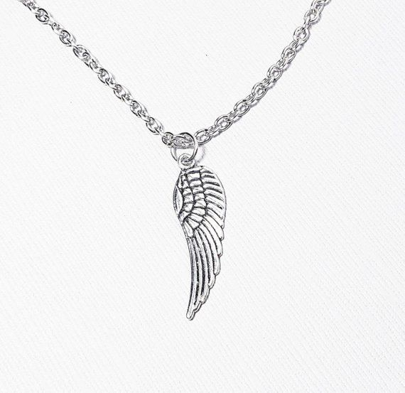 Angel wing  necklace on 22 inch leather cord