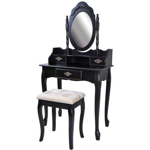 Miadomodo® SMKT06-SWZ Black Dressing Table with Stool